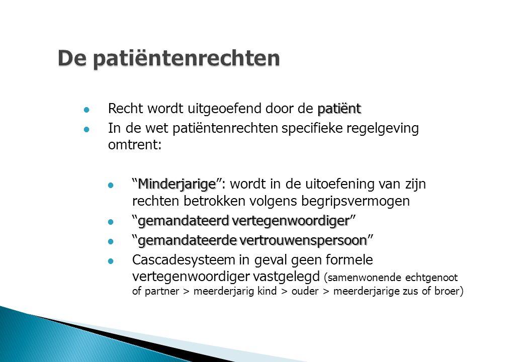 """De patiëntenrechten patiënt Recht wordt uitgeoefend door de patiënt In de wet patiëntenrechten specifieke regelgeving omtrent: Minderjarige """"Minderjar"""