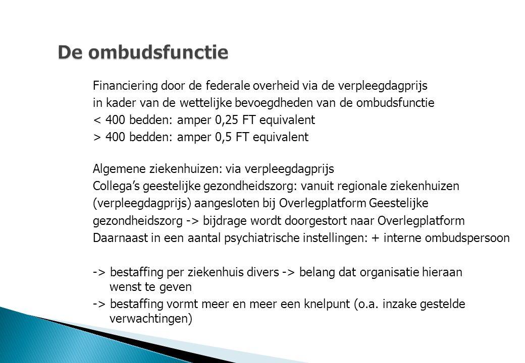 De ombudsfunctie Financiering door de federale overheid via de verpleegdagprijs in kader van de wettelijke bevoegdheden van de ombudsfunctie < 400 bed
