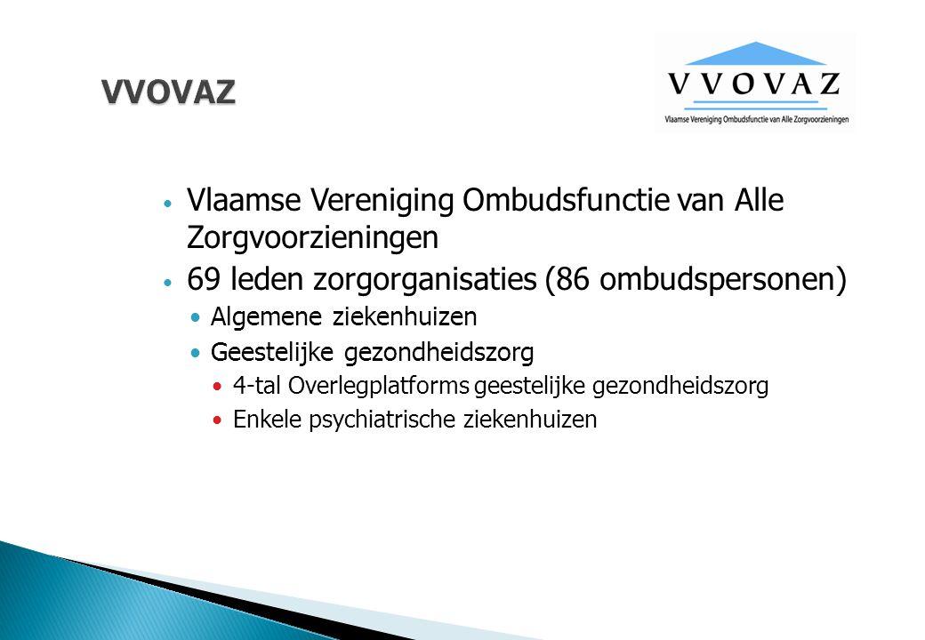 VVOVAZ Vlaamse Vereniging Ombudsfunctie van Alle Zorgvoorzieningen 69 leden zorgorganisaties (86 ombudspersonen) Algemene ziekenhuizen Geestelijke gez