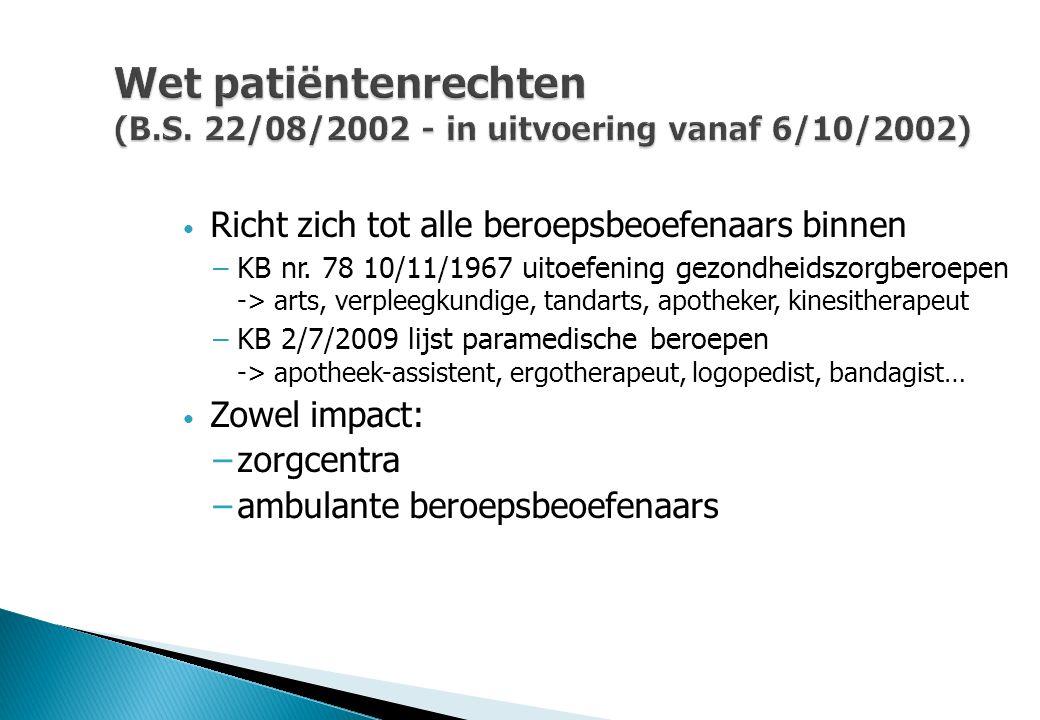 Wet patiëntenrechten (B.S. 22/08/2002 - in uitvoering vanaf 6/10/2002) Richt zich tot alle beroepsbeoefenaars binnen –KB nr. 78 10/11/1967 uitoefening