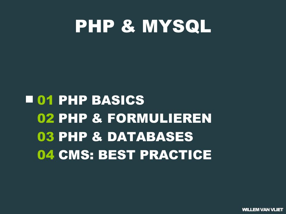 PHP BASICS variabelen 01 Variabelen zijn de basis van elke programmeertaal en worden gebruikt om gegevens tijdelijk op te slaan variabelen beginnen met een $ Variabel namen zijn hoofdletter gevoelig Namen mogen letters, cijfers of '_' bevatten Namen mogen niet met een cijfer beginnen