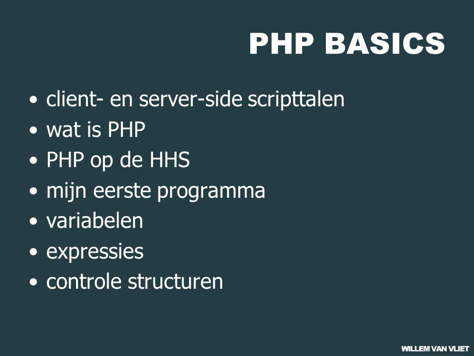 PHP BASICS client-en server-side scripttalen 01 gebruiker browser server machine web server index.html internet