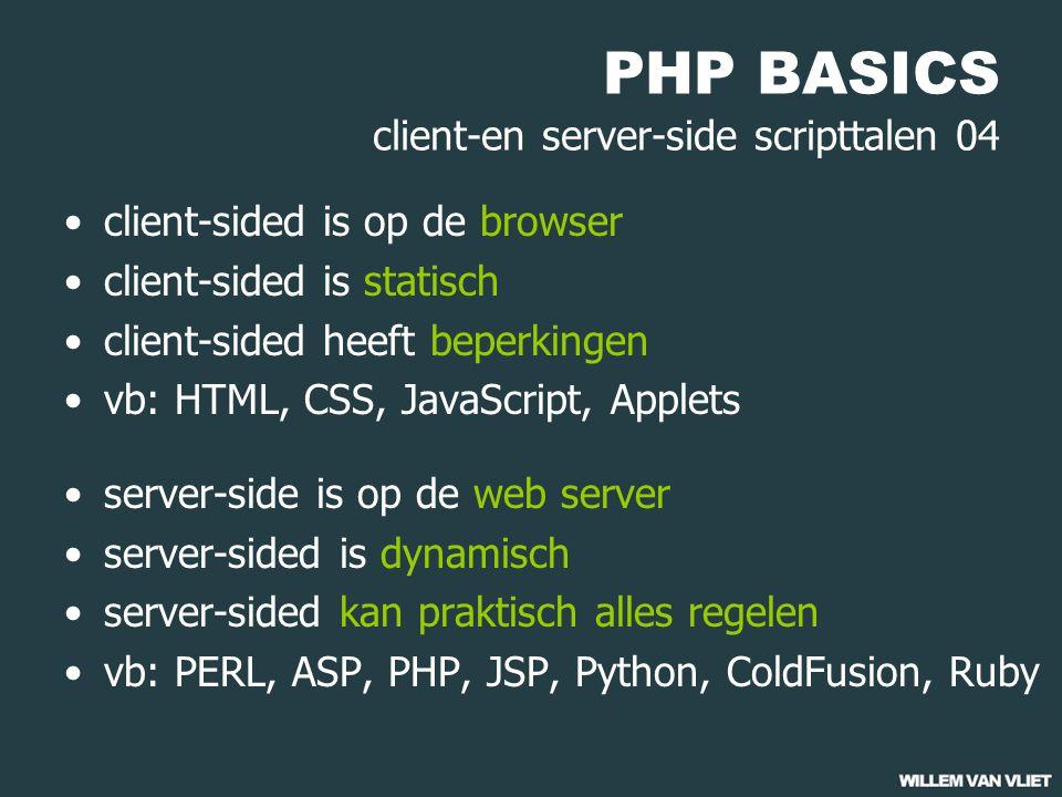 PHP BASICS variabelen 05 single quoted strings $disco = 'Timeout'; $adres = 'Randweg 24 2530 VS Gemert'; 'escapen' van speciale tekens $plaats = ' s' Gravenhage';// fout !!.