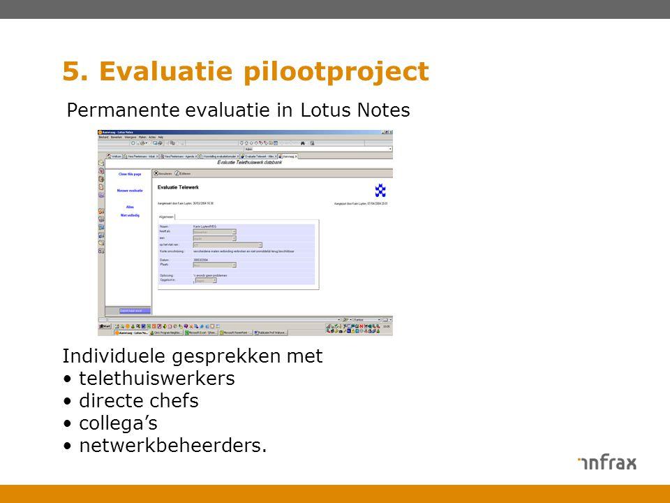 5. Evaluatie pilootproject Permanente evaluatie in Lotus Notes Individuele gesprekken met telethuiswerkers directe chefs collega's netwerkbeheerders.
