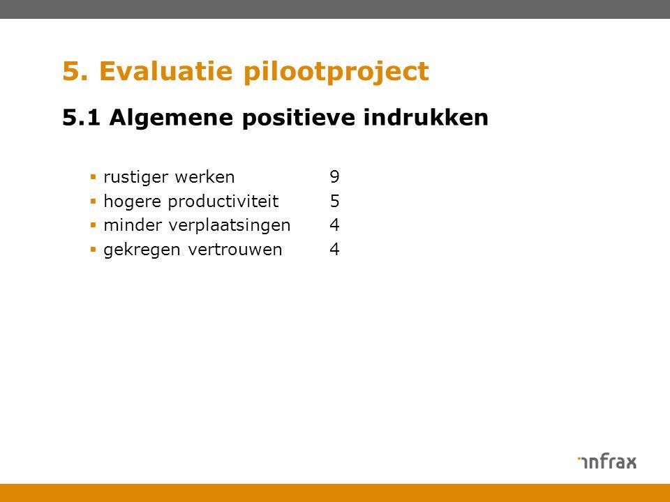 5. Evaluatie pilootproject 5.1 Algemene positieve indrukken  rustiger werken9  hogere productiviteit5  minder verplaatsingen4  gekregen vertrouwen