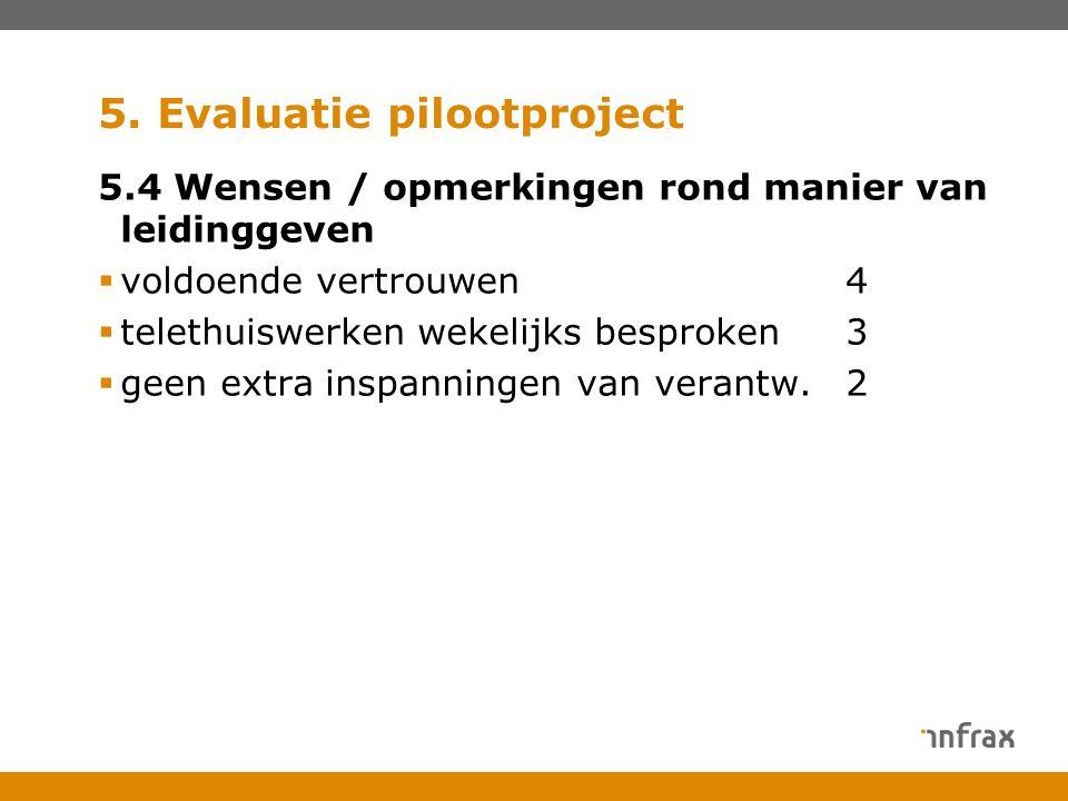 5. Evaluatie pilootproject 5.4 Wensen / opmerkingen rond manier van leidinggeven  voldoende vertrouwen4  telethuiswerken wekelijks besproken3  geen