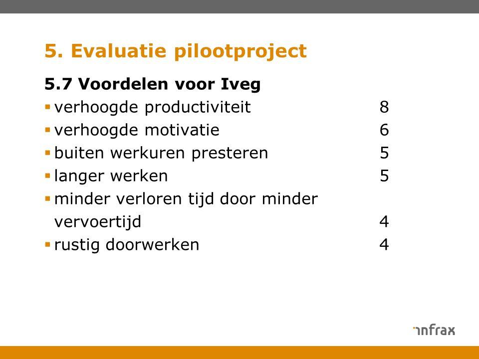 5. Evaluatie pilootproject 5.7 Voordelen voor Iveg  verhoogde productiviteit8  verhoogde motivatie6  buiten werkuren presteren5  langer werken5 