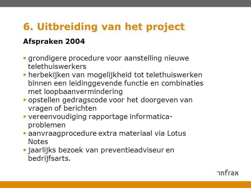 6. Uitbreiding van het project Afspraken 2004  grondigere procedure voor aanstelling nieuwe telethuiswerkers  herbekijken van mogelijkheid tot telet
