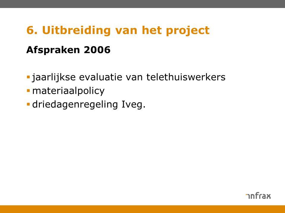 6. Uitbreiding van het project Afspraken 2006  jaarlijkse evaluatie van telethuiswerkers  materiaalpolicy  driedagenregeling Iveg.