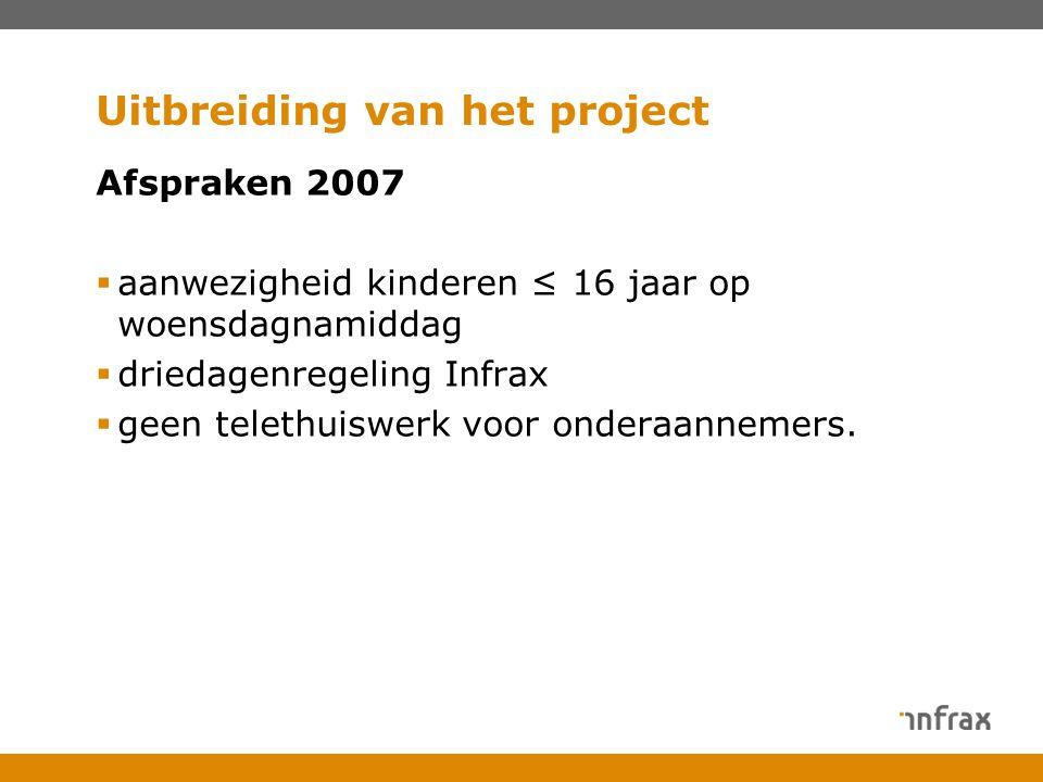 Uitbreiding van het project Afspraken 2007  aanwezigheid kinderen ≤ 16 jaar op woensdagnamiddag  driedagenregeling Infrax  geen telethuiswerk voor onderaannemers.