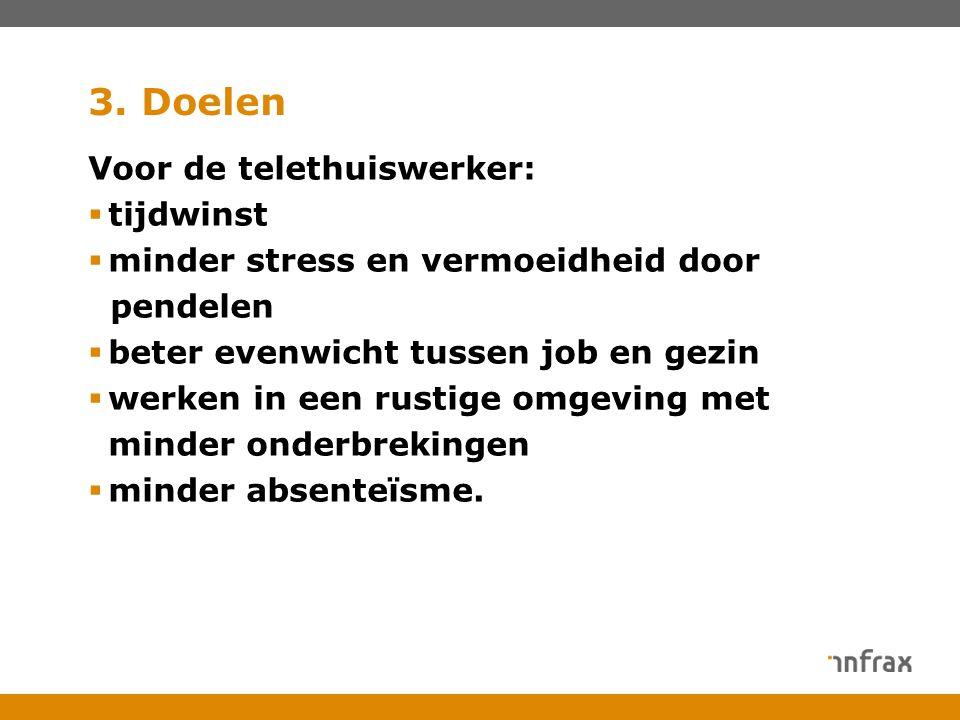 3. Doelen Voor de telethuiswerker:  tijdwinst  minder stress en vermoeidheid door pendelen  beter evenwicht tussen job en gezin  werken in een rus
