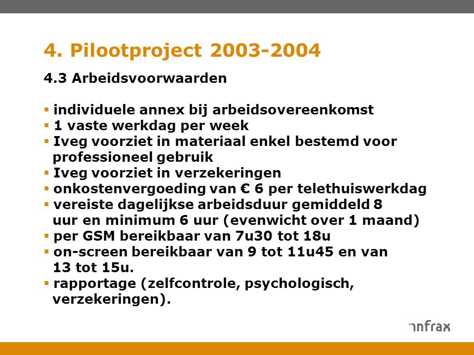 4. Pilootproject 2003-2004 4.3 Arbeidsvoorwaarden  individuele annex bij arbeidsovereenkomst  1 vaste werkdag per week  Iveg voorziet in materiaal