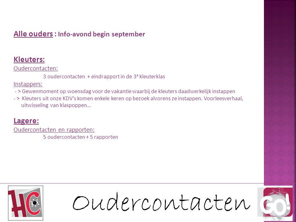 Oudercontacten Alle ouders : Info-avond begin september Kleuters: Oudercontacten: 3 oudercontacten + eindrapport in de 3 e kleuterklas Instappers: - >