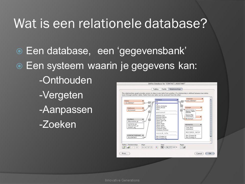 Wat is een relationele database.