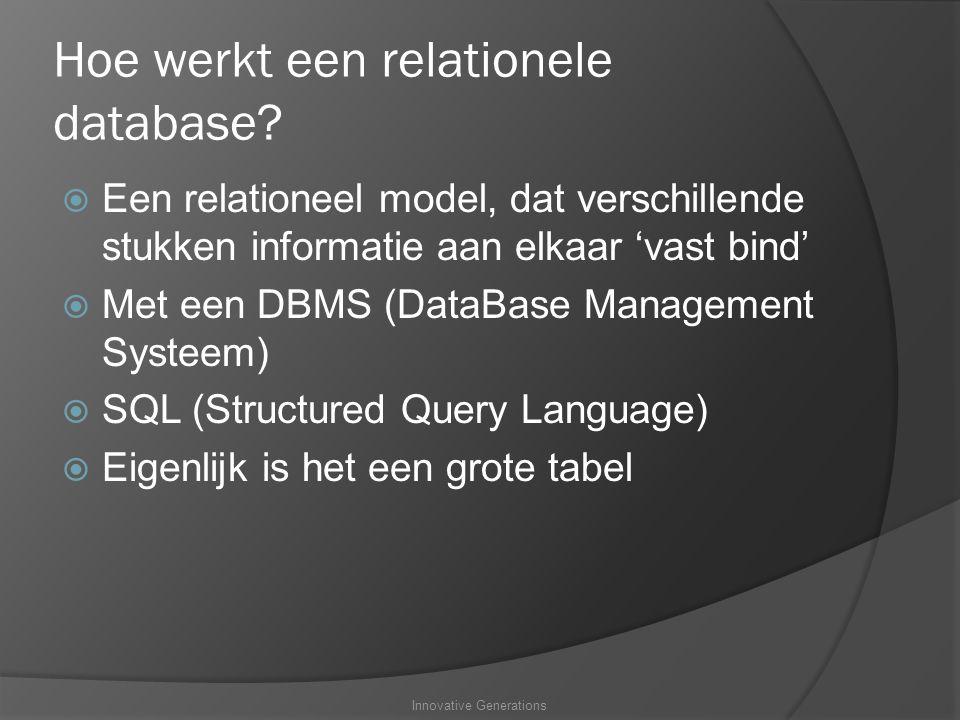 Hoe werkt een relationele database.
