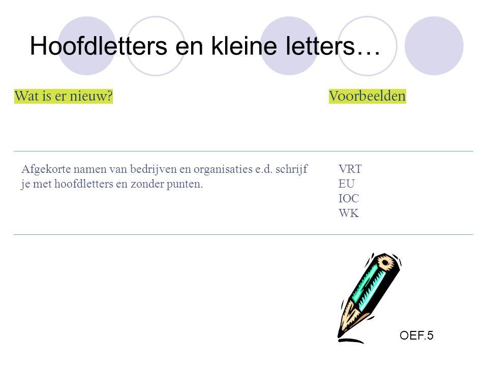 Afgekorte namen van bedrijven en organisaties e.d. schrijf je met hoofdletters en zonder punten. VRT EU IOC WK OEF.5