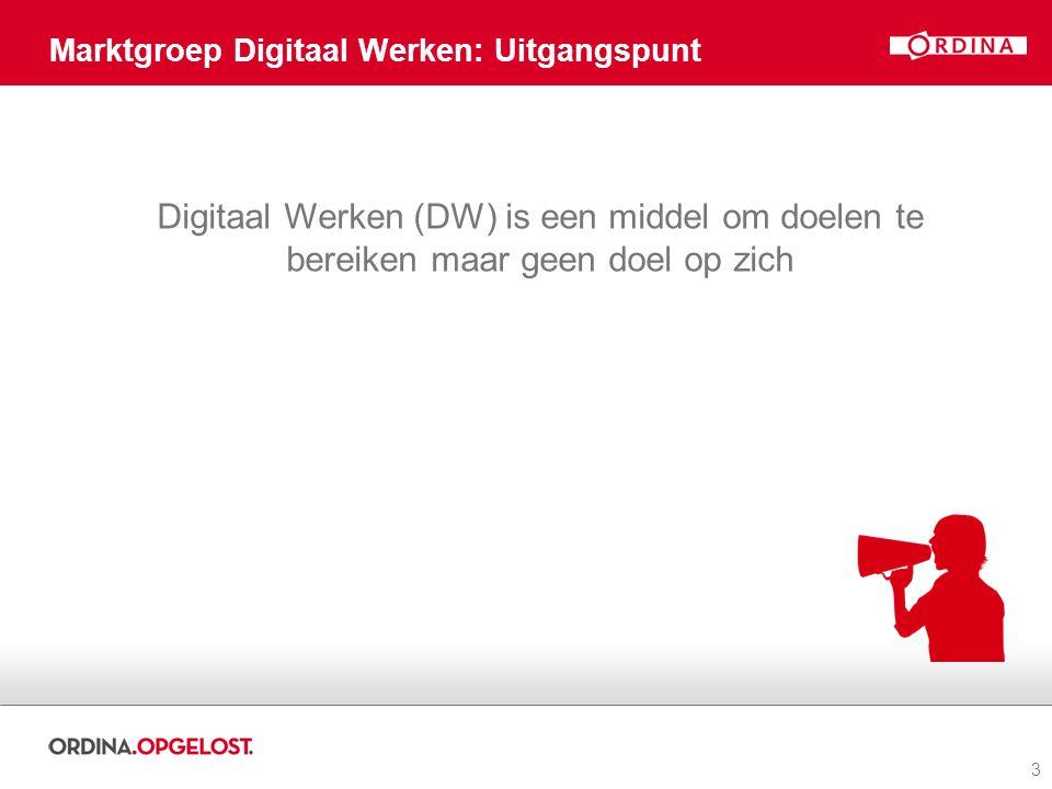 3 Marktgroep Digitaal Werken: Uitgangspunt Digitaal Werken (DW) is een middel om doelen te bereiken maar geen doel op zich