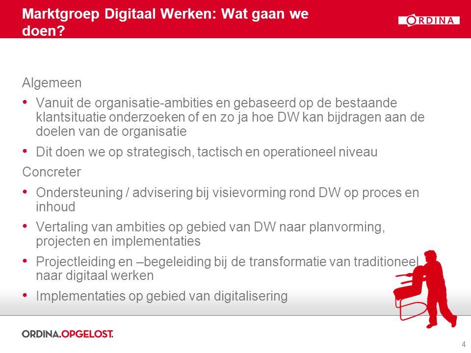 4 Marktgroep Digitaal Werken: Wat gaan we doen.