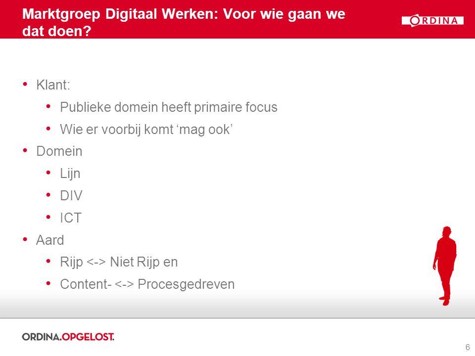 6 Marktgroep Digitaal Werken: Voor wie gaan we dat doen.