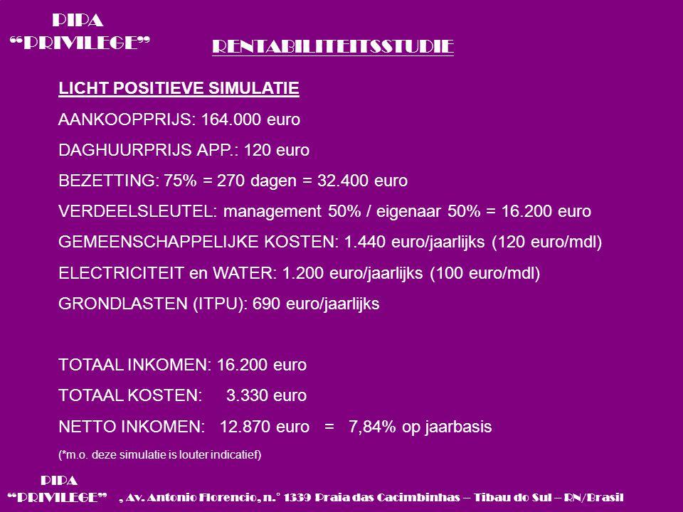 RENTABILITEITSSTUDIE LICHT POSITIEVE SIMULATIE AANKOOPPRIJS: 164.000 euro DAGHUURPRIJS APP.: 120 euro BEZETTING: 75% = 270 dagen = 32.400 euro VERDEELSLEUTEL: management 50% / eigenaar 50% = 16.200 euro GEMEENSCHAPPELIJKE KOSTEN: 1.440 euro/jaarlijks (120 euro/mdl) ELECTRICITEIT en WATER: 1.200 euro/jaarlijks (100 euro/mdl) GRONDLASTEN (ITPU): 690 euro/jaarlijks TOTAAL INKOMEN: 16.200 euro TOTAAL KOSTEN: 3.330 euro NETTO INKOMEN: 12.870 euro = 7,84% op jaarbasis (*m.o.