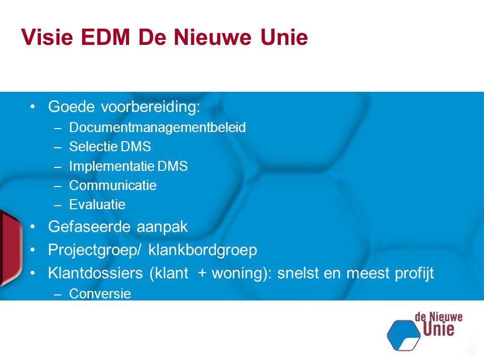 Visie EDM De Nieuwe Unie Goede voorbereiding: –Documentmanagementbeleid –Selectie DMS –Implementatie DMS –Communicatie –Evaluatie Gefaseerde aanpak Pr
