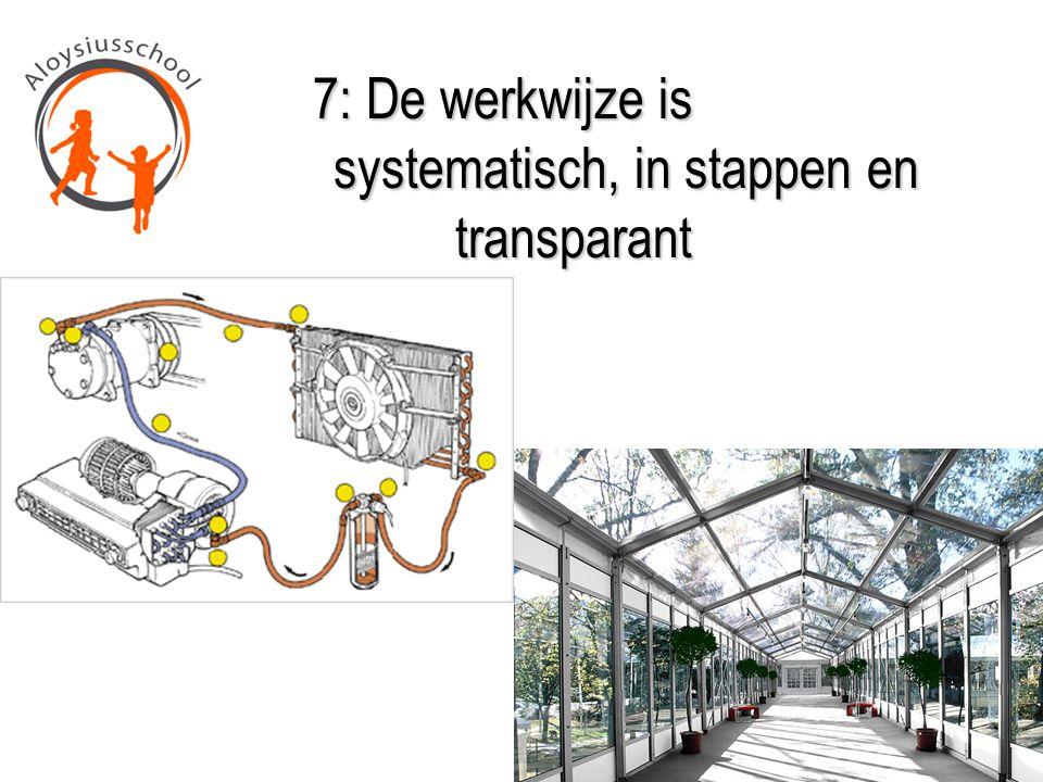 7: De werkwijze is systematisch, in stappen en transparant 7: De werkwijze is systematisch, in stappen en transparant