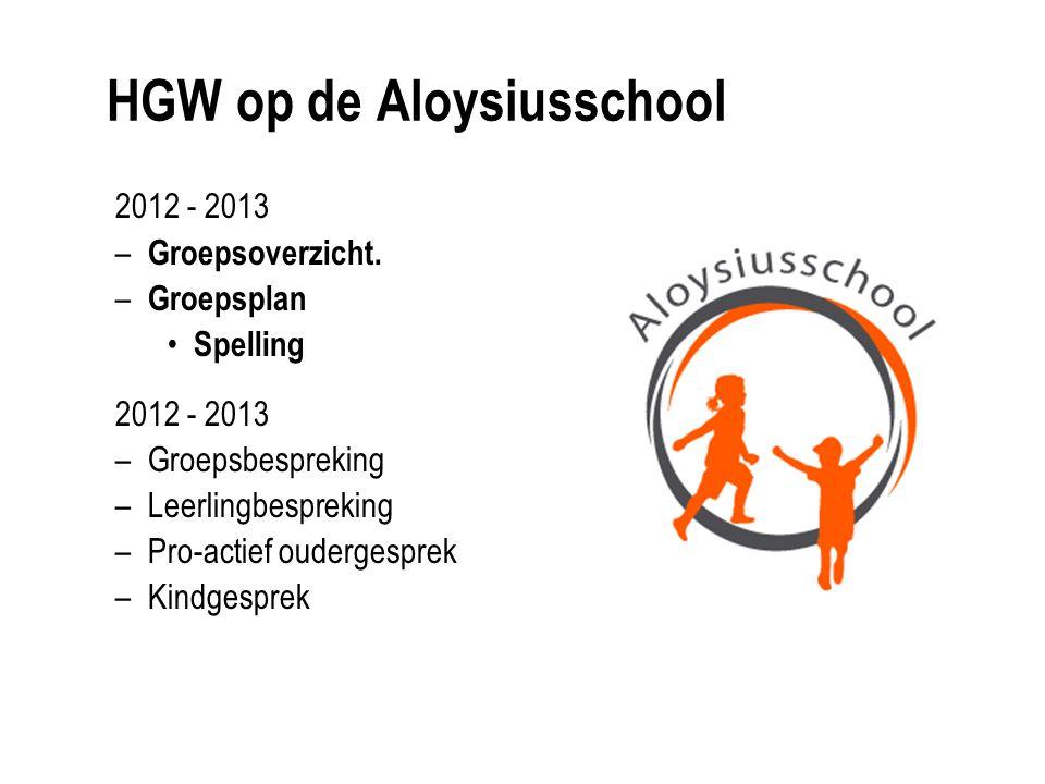 HGW op de Aloysiusschool 2012 - 2013 – Groepsoverzicht. – Groepsplan Spelling 2012 - 2013 –Groepsbespreking –Leerlingbespreking –Pro-actief oudergespr