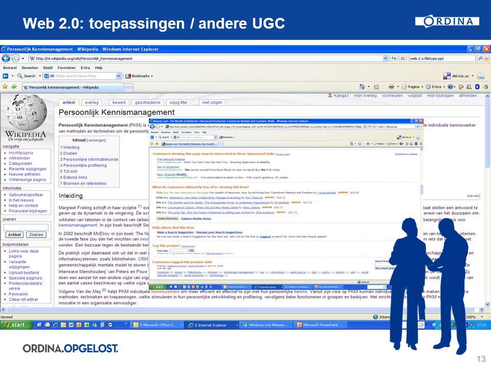 13 Web 2.0: toepassingen / andere UGC