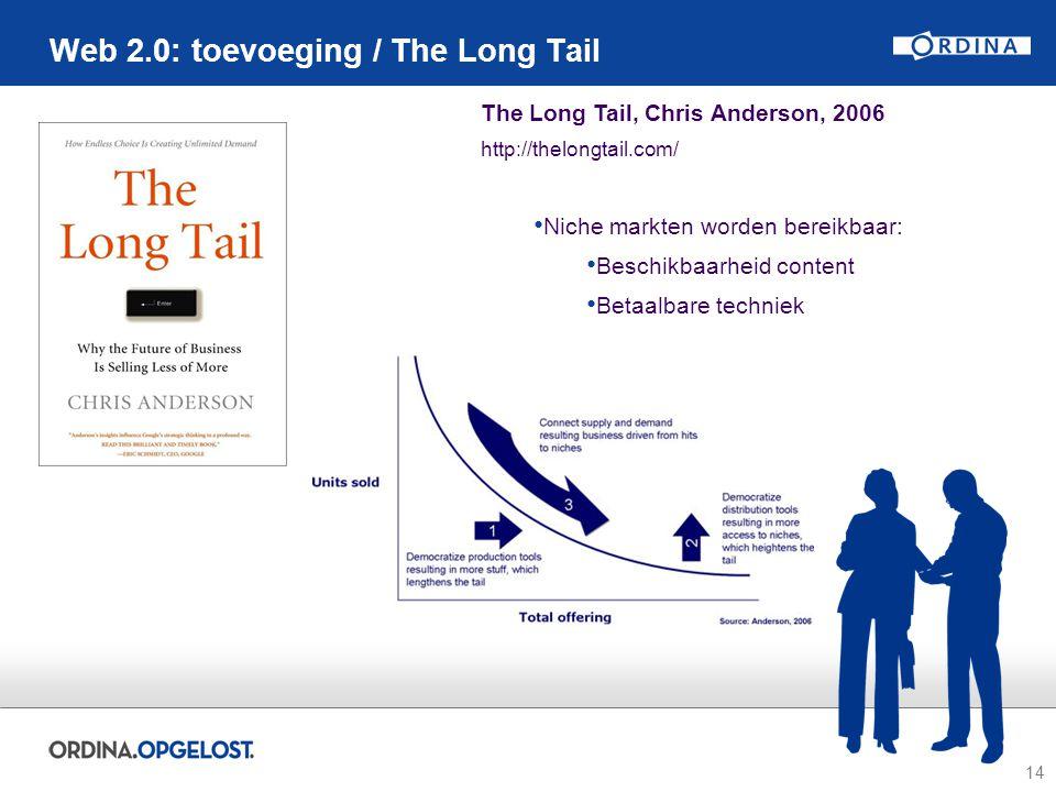 14 Web 2.0: toevoeging / The Long Tail The Long Tail, Chris Anderson, 2006 http://thelongtail.com/ Niche markten worden bereikbaar: Beschikbaarheid co