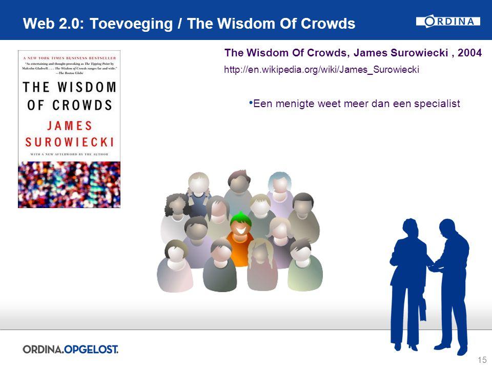 15 Web 2.0: Toevoeging / The Wisdom Of Crowds The Wisdom Of Crowds, James Surowiecki, 2004 http://en.wikipedia.org/wiki/James_Surowiecki Een menigte w