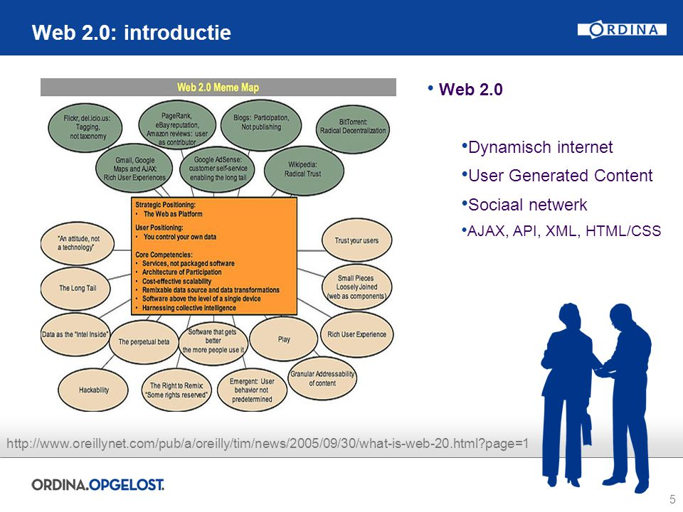5 Web 2.0: introductie Web 2.0 Dynamisch internet User Generated Content Sociaal netwerk AJAX, API, XML, HTML/CSS http://www.oreillynet.com/pub/a/oreilly/tim/news/2005/09/30/what-is-web-20.html page=1