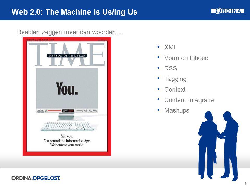 8 Web 2.0: The Machine is Us/ing Us XML Vorm en Inhoud RSS Tagging Context Content Integratie Mashups Beelden zeggen meer dan woorden….
