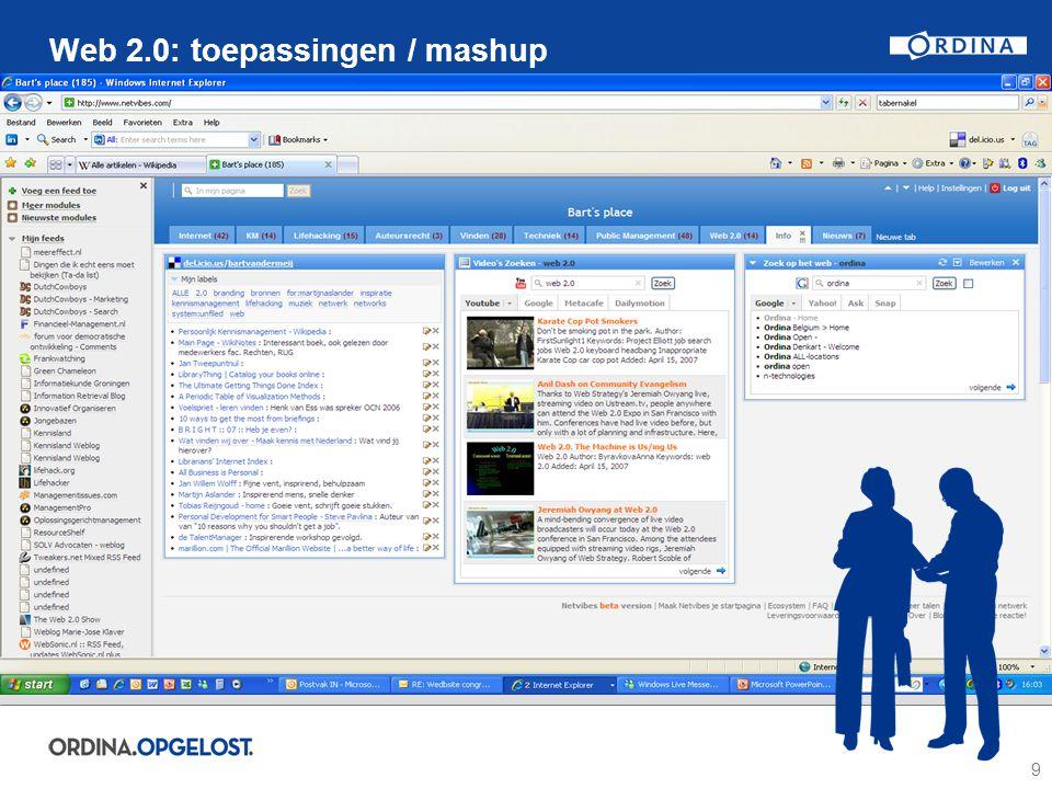 9 Web 2.0: toepassingen / mashup