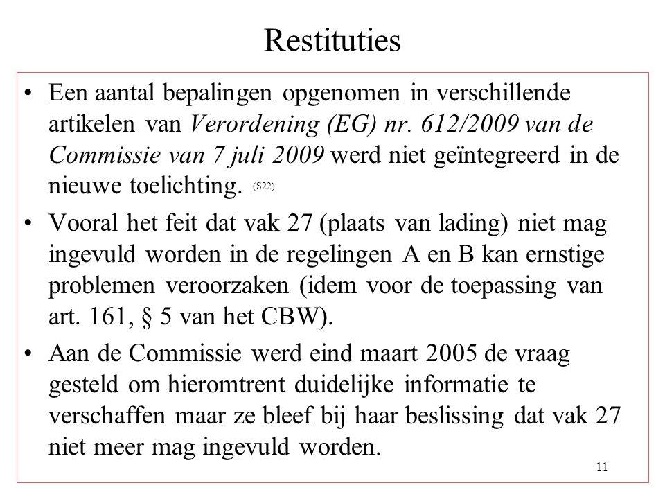 11 Restituties Een aantal bepalingen opgenomen in verschillende artikelen van Verordening (EG) nr. 612/2009 van de Commissie van 7 juli 2009 werd niet