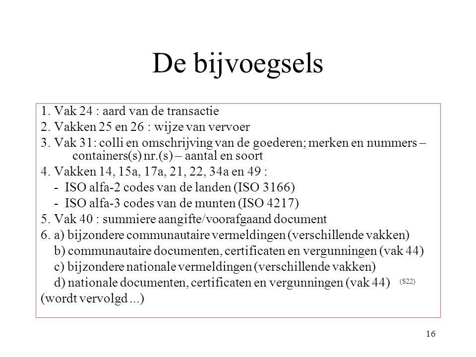 16 De bijvoegsels 1. Vak 24 : aard van de transactie 2. Vakken 25 en 26 : wijze van vervoer 3. Vak 31: colli en omschrijving van de goederen; merken e