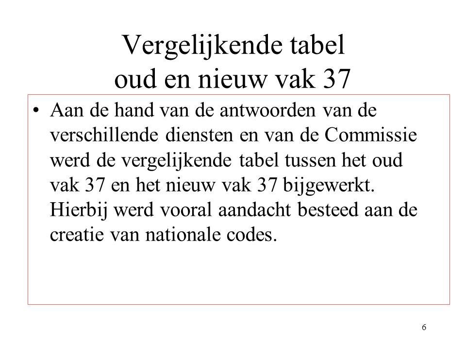 6 Vergelijkende tabel oud en nieuw vak 37 Aan de hand van de antwoorden van de verschillende diensten en van de Commissie werd de vergelijkende tabel