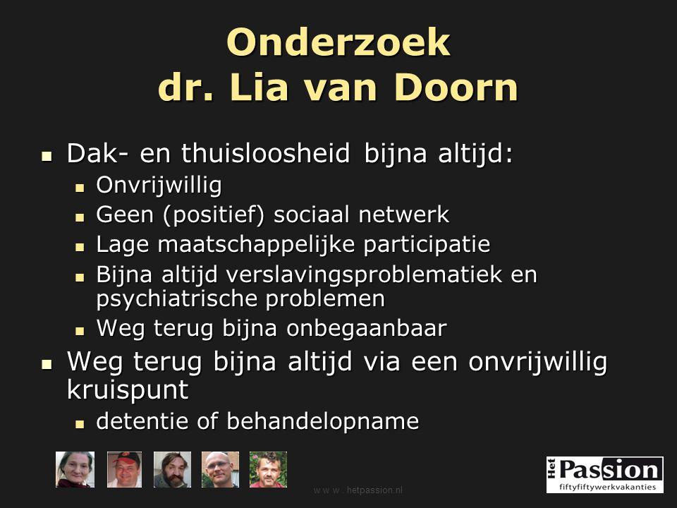 Onderzoek dr. Lia van Doorn Dak- en thuisloosheid bijna altijd: Dak- en thuisloosheid bijna altijd: Onvrijwillig Onvrijwillig Geen (positief) sociaal