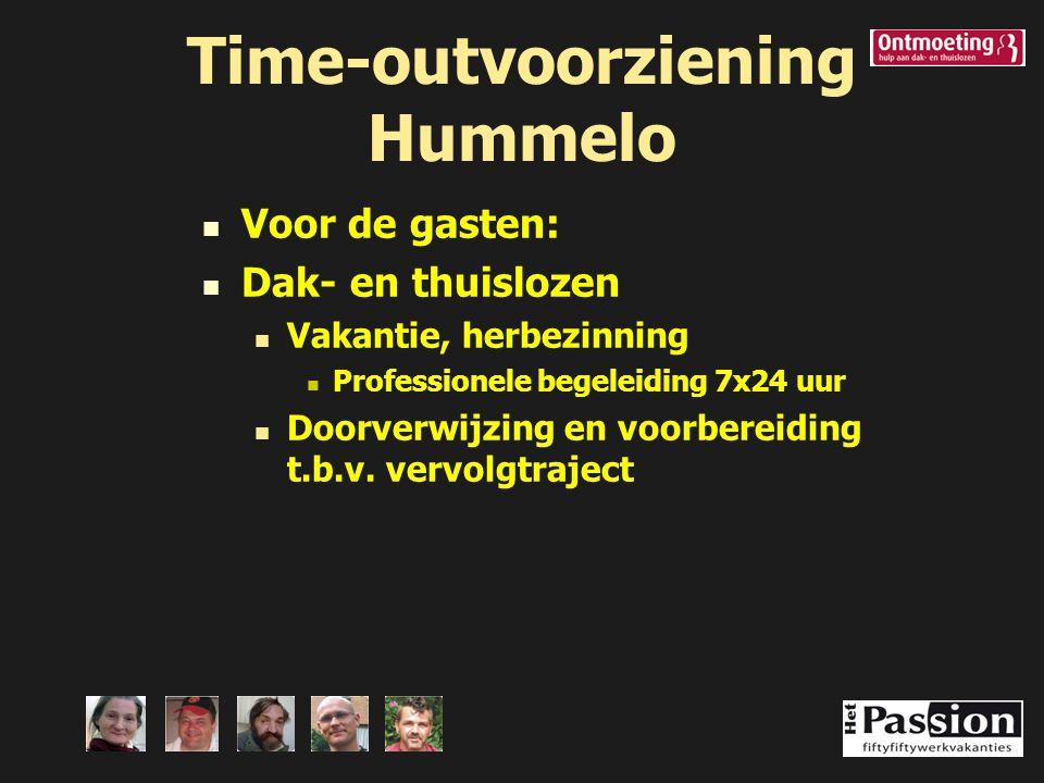 Time-outvoorziening Hummelo Voor de gasten: Dak- en thuislozen Vakantie, herbezinning Professionele begeleiding 7x24 uur Doorverwijzing en voorbereidi