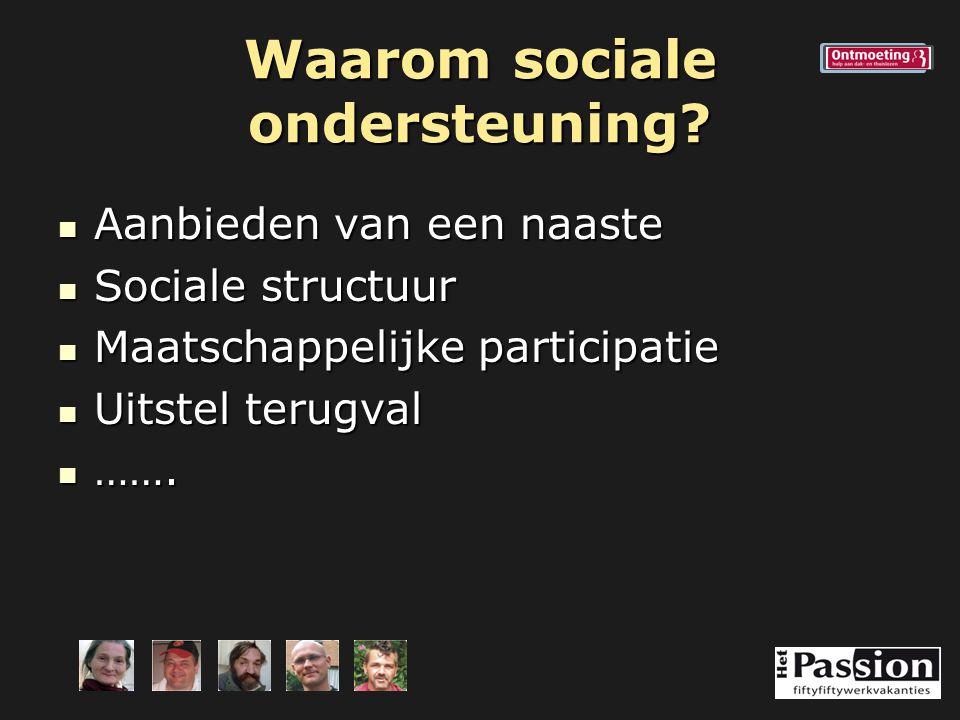 Waarom sociale ondersteuning? Aanbieden van een naaste Aanbieden van een naaste Sociale structuur Sociale structuur Maatschappelijke participatie Maat