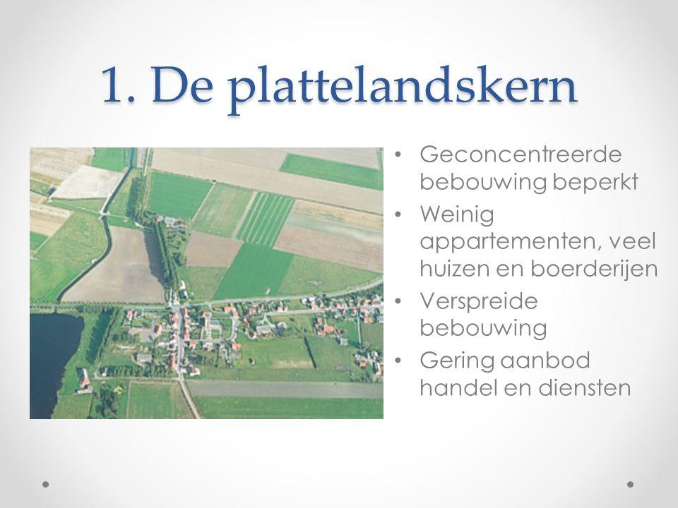 1. De plattelandskern Geconcentreerde bebouwing beperkt Weinig appartementen, veel huizen en boerderijen Verspreide bebouwing Gering aanbod handel en