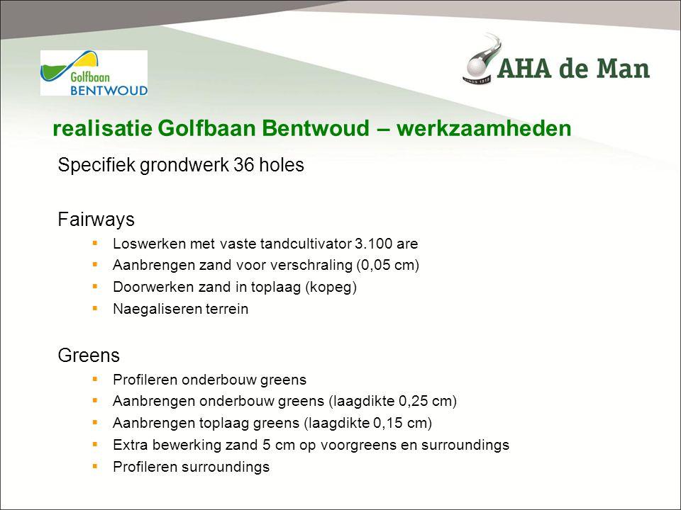 realisatie Golfbaan Bentwoud – werkzaamheden Specifiek grondwerk 36 holes Fairways  Loswerken met vaste tandcultivator 3.100 are  Aanbrengen zand vo