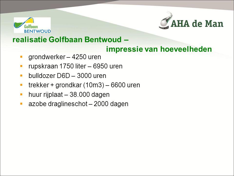 realisatie Golfbaan Bentwoud – impressie van hoeveelheden  grondwerker – 4250 uren  rupskraan 1750 liter – 6950 uren  bulldozer D6D – 3000 uren  t