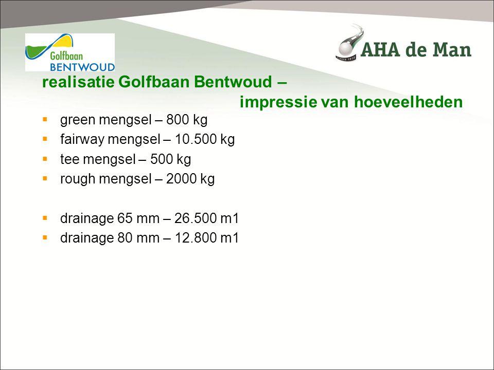 realisatie Golfbaan Bentwoud – impressie van hoeveelheden  green mengsel – 800 kg  fairway mengsel – 10.500 kg  tee mengsel – 500 kg  rough mengse