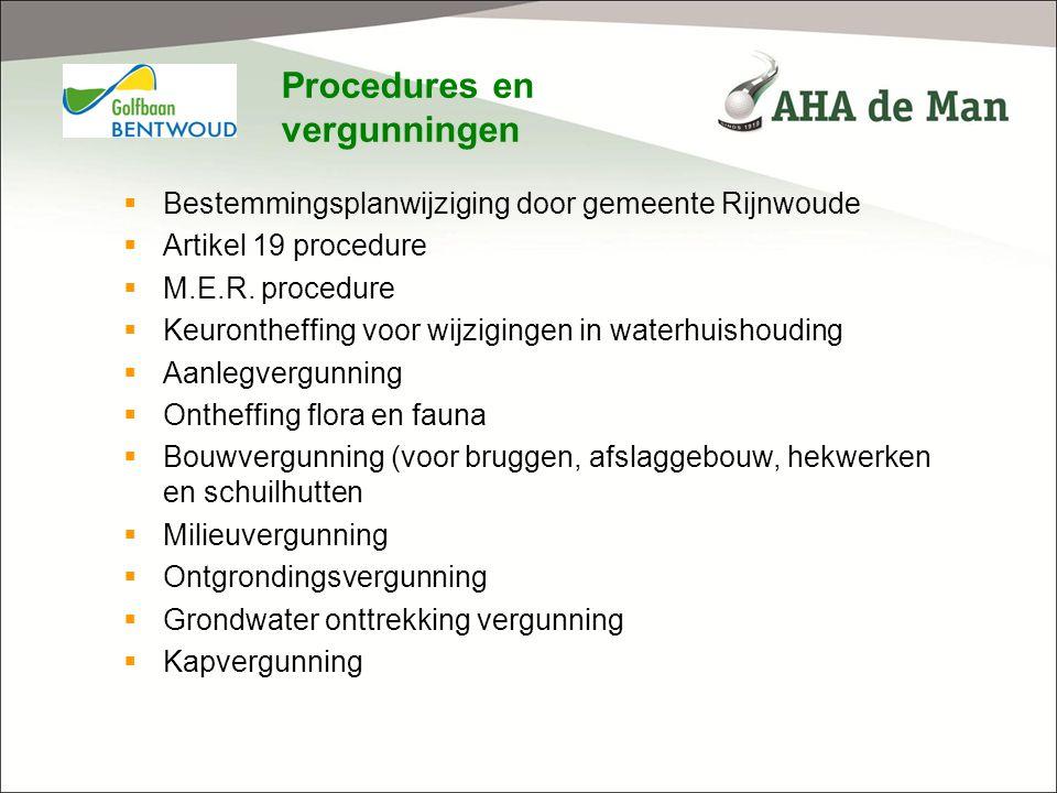 Procedures en vergunningen  Bestemmingsplanwijziging door gemeente Rijnwoude  Artikel 19 procedure  M.E.R. procedure  Keurontheffing voor wijzigin