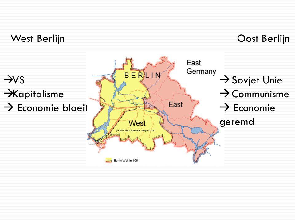 West Berlijn  VS  Kapitalisme  Economie bloeit Oost Berlijn  Sovjet Unie  Communisme  Economie geremd