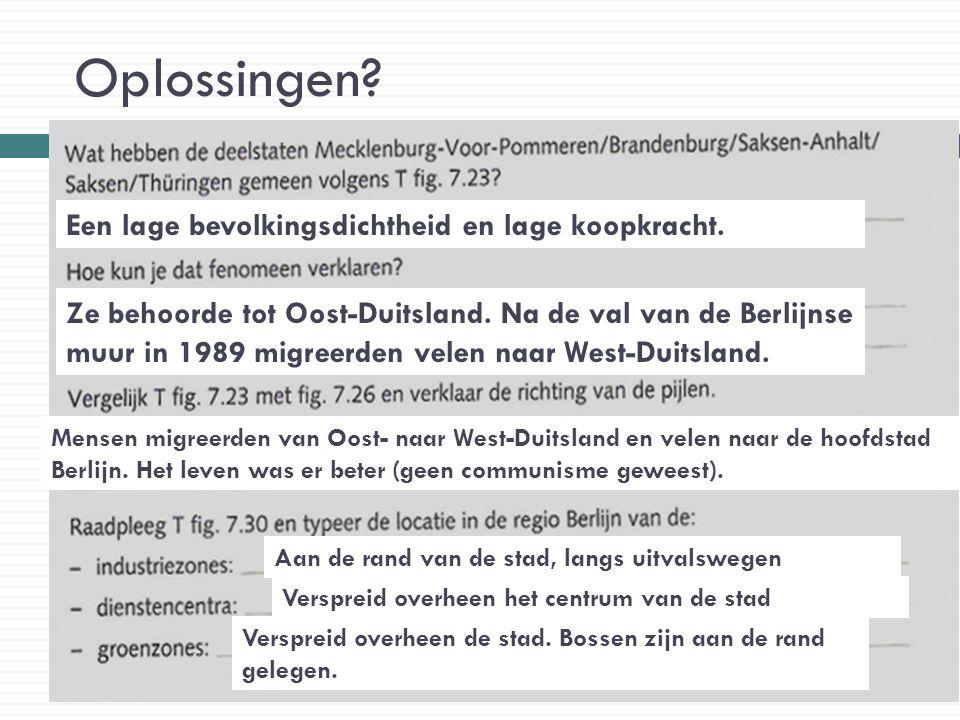 Oplossingen? Een lage bevolkingsdichtheid en lage koopkracht. Ze behoorde tot Oost-Duitsland. Na de val van de Berlijnse muur in 1989 migreerden velen