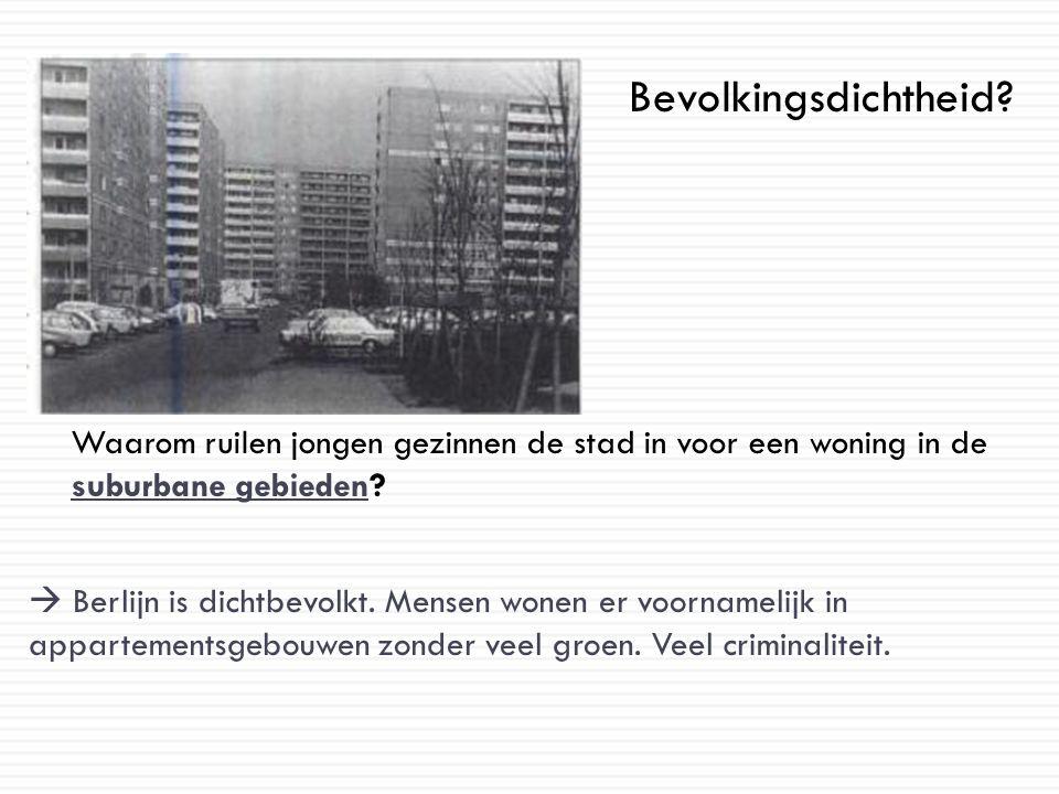 Bevolkingsdichtheid? Waarom ruilen jongen gezinnen de stad in voor een woning in de suburbane gebieden?  Berlijn is dichtbevolkt. Mensen wonen er voo