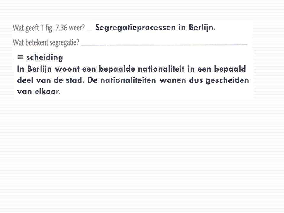 Segregatieprocessen in Berlijn. = scheiding In Berlijn woont een bepaalde nationaliteit in een bepaald deel van de stad. De nationaliteiten wonen dus