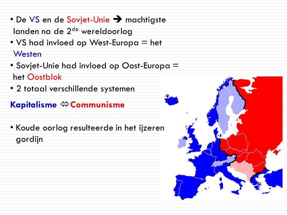 De VS en de Sovjet-Unie  machtigste landen na de 2 de wereldoorlog VS had invloed op West-Europa = het Westen Sovjet-Unie had invloed op Oost-Europa