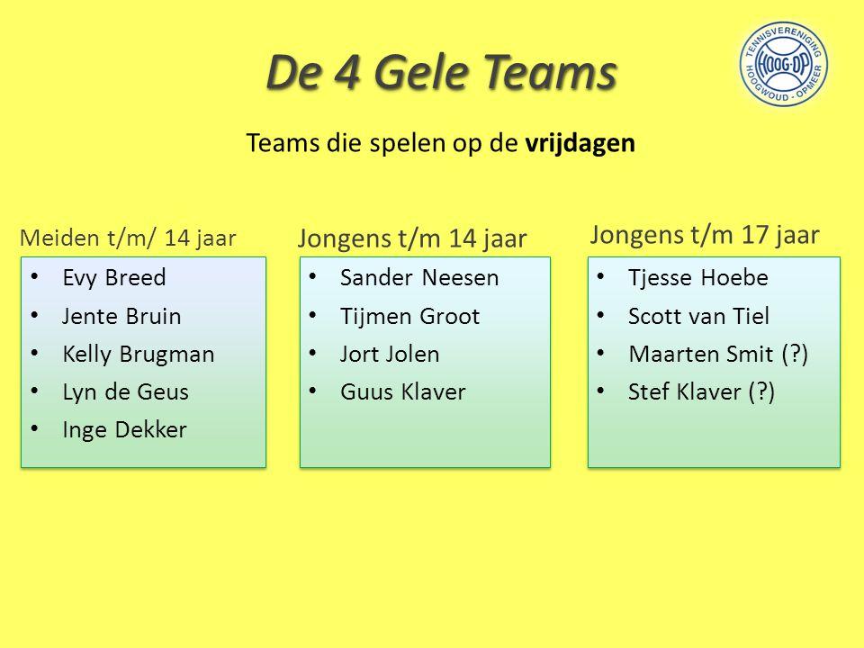 De 4 Gele Teams Meiden t/m/ 14 jaar Jongens t/m 14 jaar Tjesse Hoebe Scott van Tiel Maarten Smit (?) Stef Klaver (?) Tjesse Hoebe Scott van Tiel Maart